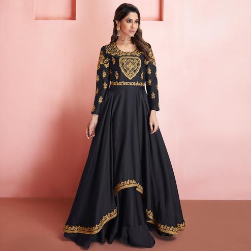Sophisticated Black Colored Partywear Embroidered Tapeta Silk Gown