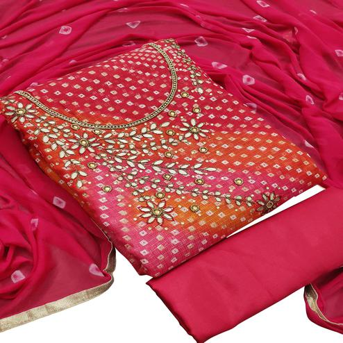Elegant Pink Colored Partywear Embroidered Heavy Banarasi Silk Dress Material