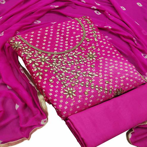 Pleasant Rani Pink Colored Partywear Embroidered Heavy Banarasi Silk Dress Material