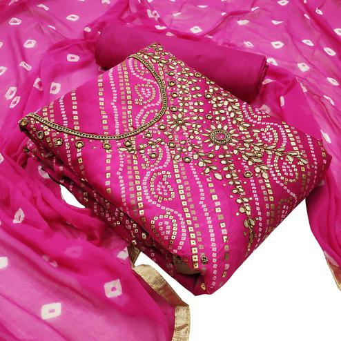 Exceptional Pink Colored Partywear Embroidered Heavy Banarasi Silk Dress Material