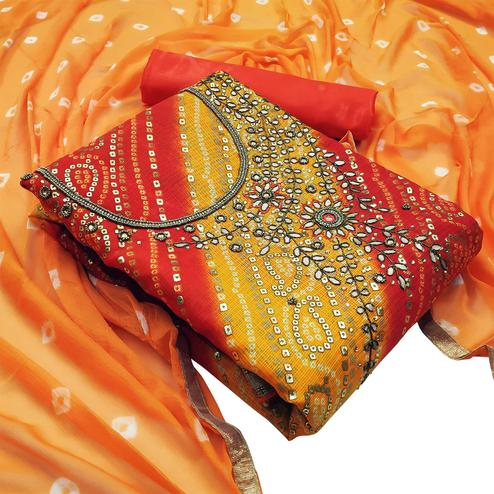 Gleaming Yellow - Red Colored Partywear Embroidered Heavy Banarasi Silk Dress Material