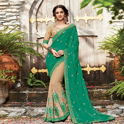 Glourious Green-Beige Designer Embroidered Partywear Silk & Chiffon Saree