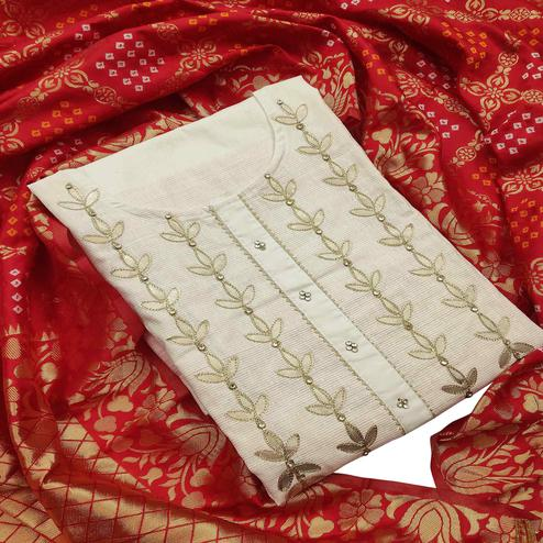 Mesmeric Offwhite - Red Colored Partywear Embroidered Pure Handloom Cotton Dress Material