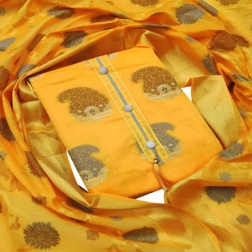 Magnetic Yellow Colored Festive Wear Woven Heavy Banarasi Silk Dress Material