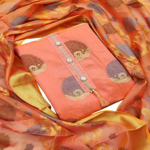 Excellent Peach Colored Festive Wear Woven Heavy Banarasi Silk Dress Material