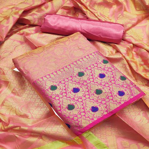 Flamboyant Pink Colored Festive Wear Woven Heavy Banarasi Silk Dress Material