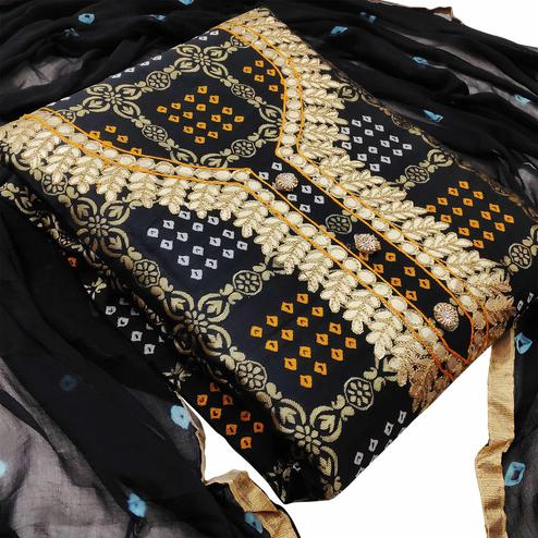 Alluring Black Colored Festive Wear Woven Heavy Banarasi Silk Dress Material