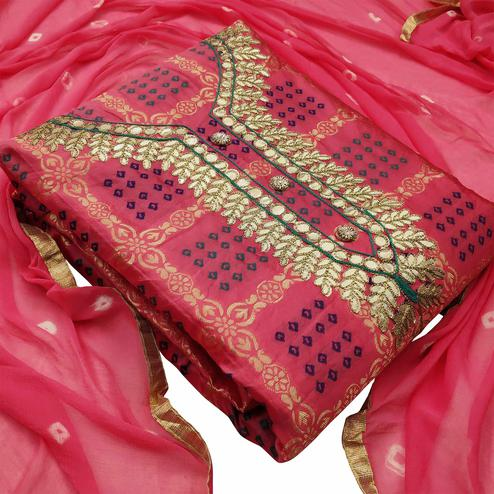 Flaunt Pink Colored Festive Wear Woven Heavy Banarasi Silk Dress Material