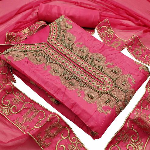 Prominent Pink Colored Partywear Embroidered Heavy Modal Silk Dress Material
