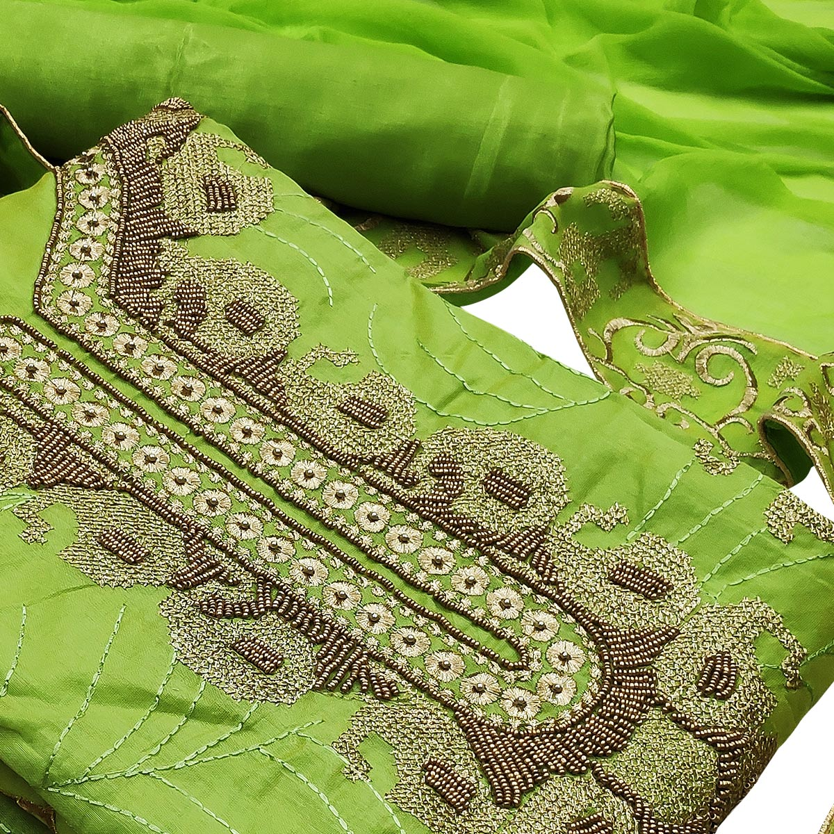 Appealing Green Colored Partywear Embroidered Heavy Modal Silk Dress Material