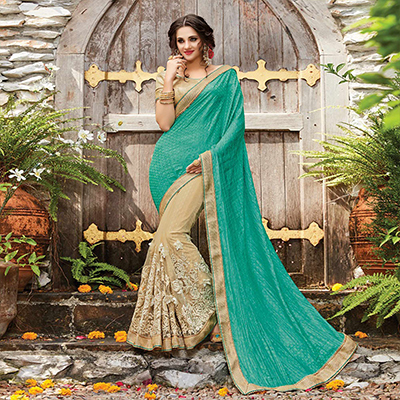 Charming Green-Beige Designer Embroidered Partywear Butterfly Net Saree