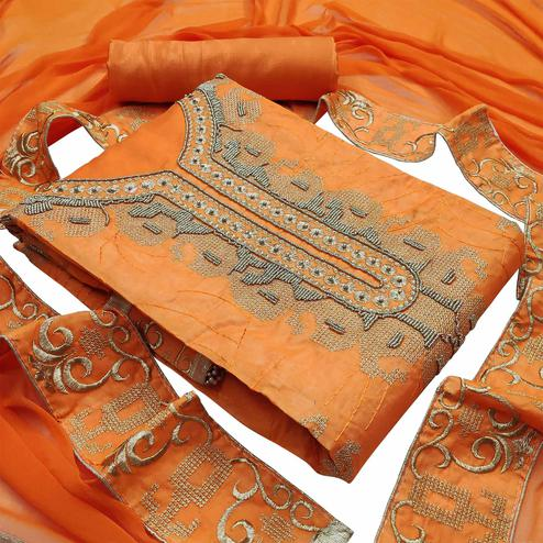 Entrancing Orange Colored Partywear Embroidered Heavy Modal Silk Dress Material