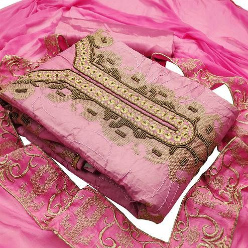 Adorning Light Pink Colored Partywear Embroidered Heavy Modal Silk Dress Material