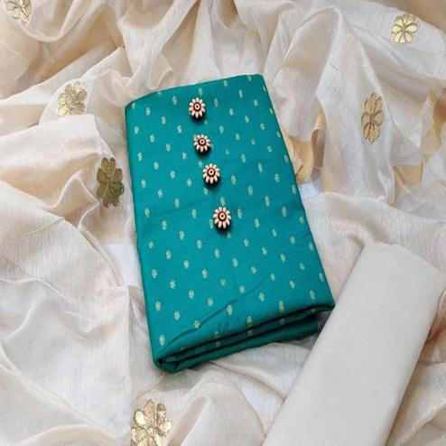 Blooming Turquoise Blue Colored Festive Wear Woven Cotton Dress Material