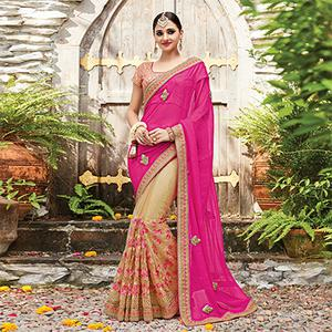 Sizzling Pink-Beige Designer Embroidered Partywear Butterfly Net & Chiffon Saree