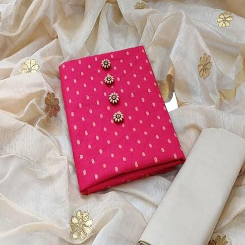 Engrossing Pink Colored Festive Wear Woven Cotton Dress Material