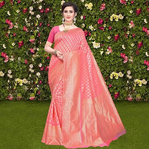 Mesmeric Peach Colored Festive Wear Woven Lichi Silk Saree