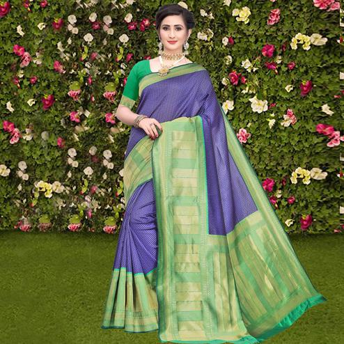Unique Blue Colored Festive Wear Woven Banarasi Silk Saree
