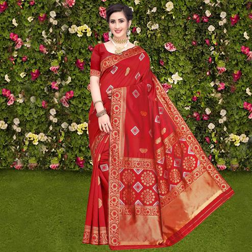 Refreshing Red Colored Festive Wear Woven Banarasi Silk Saree