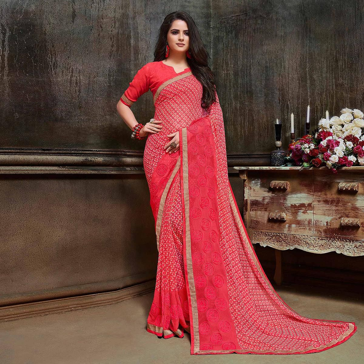 Stunning Peach Partywear Embroidered Georgette Saree