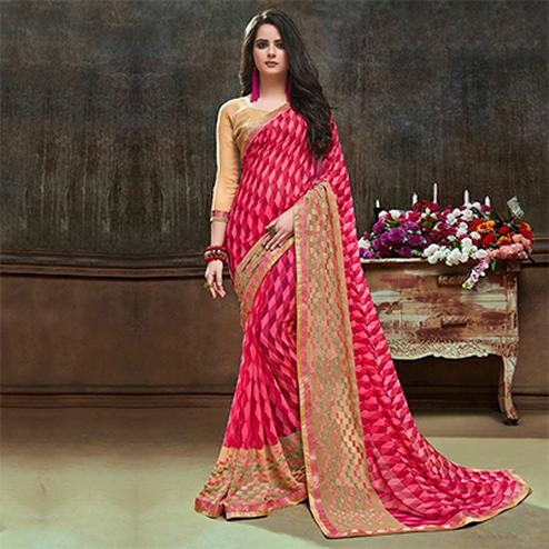 Lovely Pink Partywear Embroidered Georgette Saree