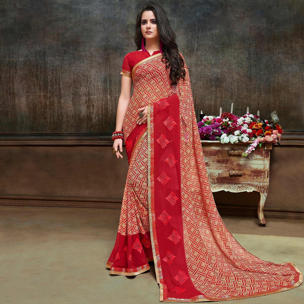 Beautiful Beige-Red Partywear Embroidered Georgette Saree