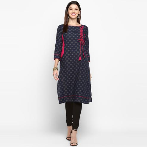 Vbuyz Women's - Blue Colored Casual Printed Cotton Straight Kurti