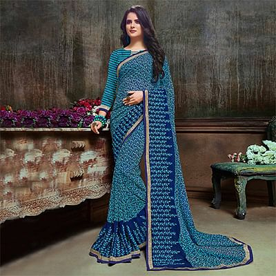Sizzling Blue Partywear Embroidered Georgette Saree