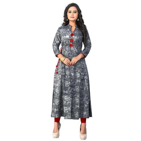 Vbuyz Women's - Grey Colored Casual Printed Rayon A-Line Kurti