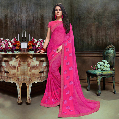 Delightful Pink Partywear Embroidered Georgette Saree
