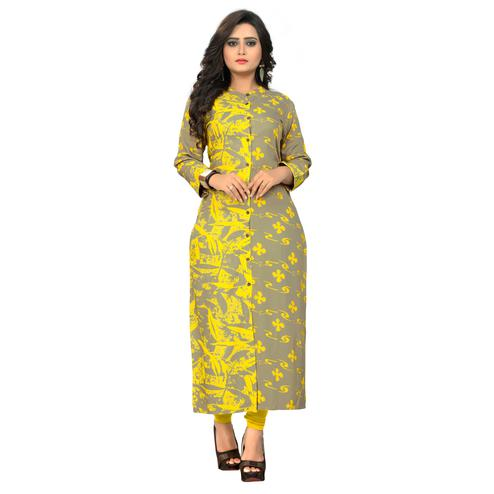 Vbuyz Women's - Grey,Yellow Colored Casual Printed Rayon Straight Kurti