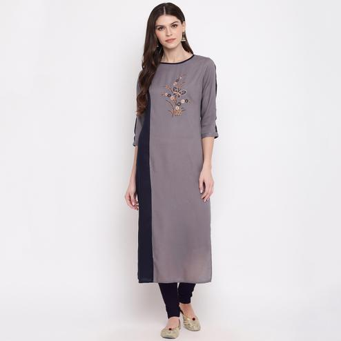 Vbuyz Women's - Grey Colored Casual Embroidered Rayon Straight Kurti