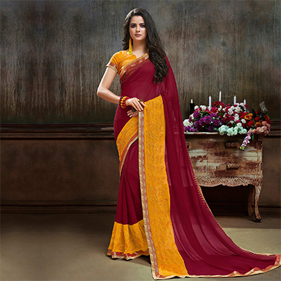 Appealing Maroon Partywear Embroidered Georgette Saree