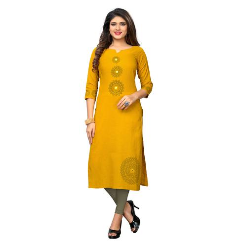 Vbuyz Women's - Yellow Colored Casual Printed Cotton Straight Kurti