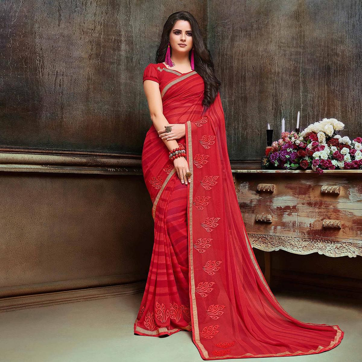Gorgeous Red Partywear Embroidered Georgette Saree