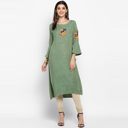 Vbuyz Women's - Green Colored Casual Rayon Straight Kurti