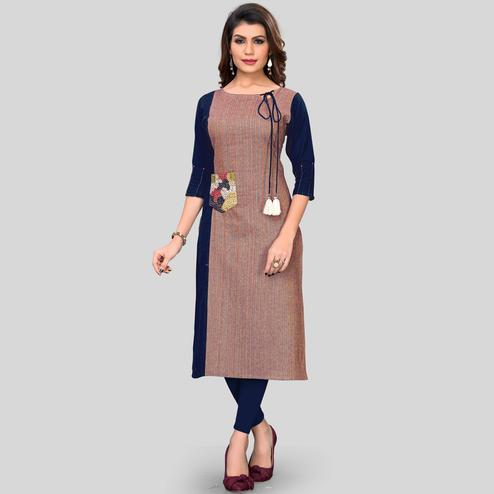 Vbuyz Women's - Brown-Blue Colored Casual Cotton Straight Kurti