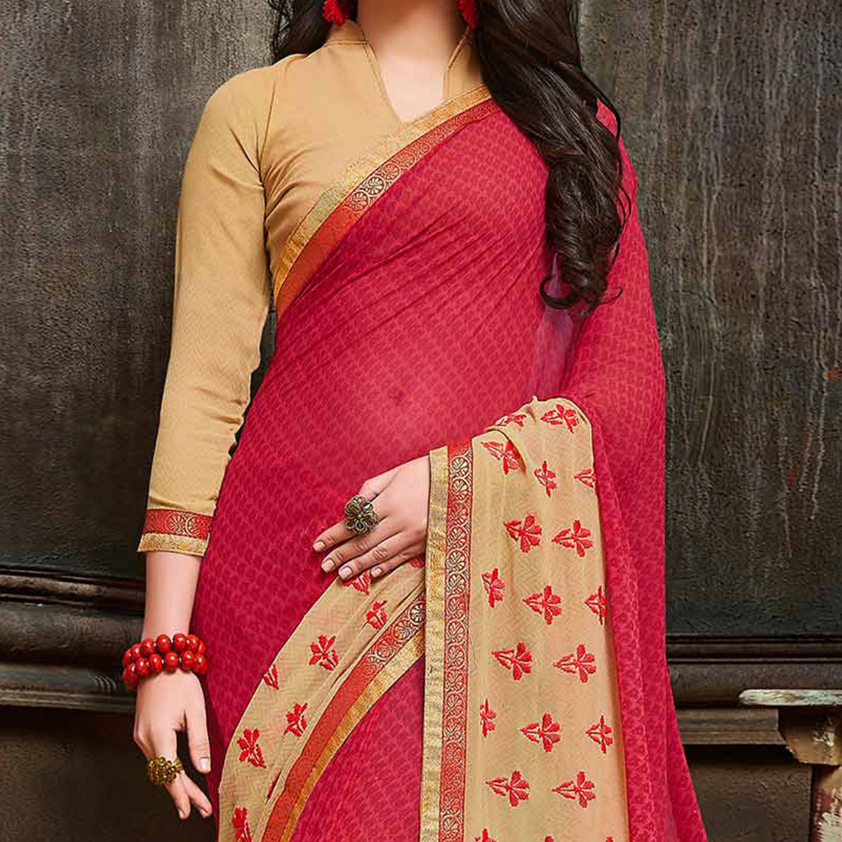 Graceful Pink Partywear Embroidered Georgette Saree