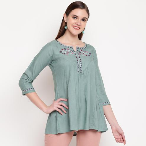 Vbuyz Women's - See Green Colored Casual Embroidered Rayon Tunic