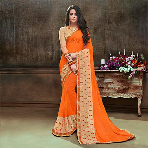 Mesmerising Orange Partywear Embroidered Georgette Saree