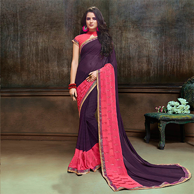 Glourious Purple Partywear Embroidered Georgette Saree