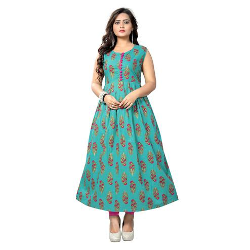 Vbuyz Women's - Turquoise Colored Casual Printed Cotton Anarkali Kurti