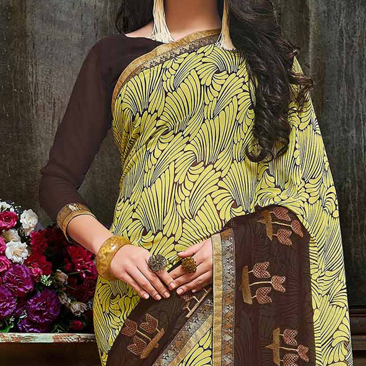 Attractive Yellow Partywear Embroidered Georgette Saree