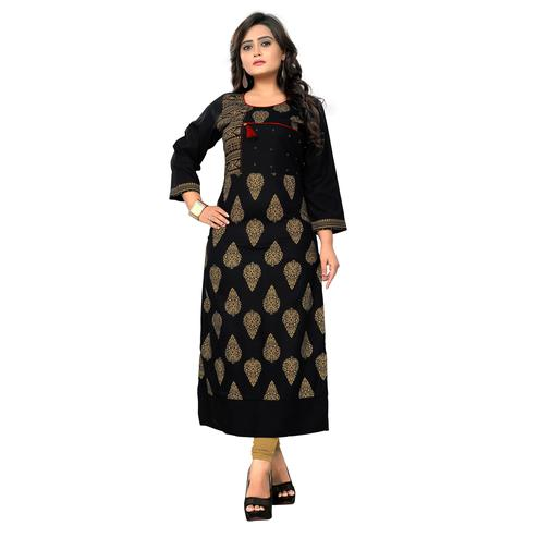 Vbuyz Women's - Black Colored Casual Printed Rayon Straight Kurti