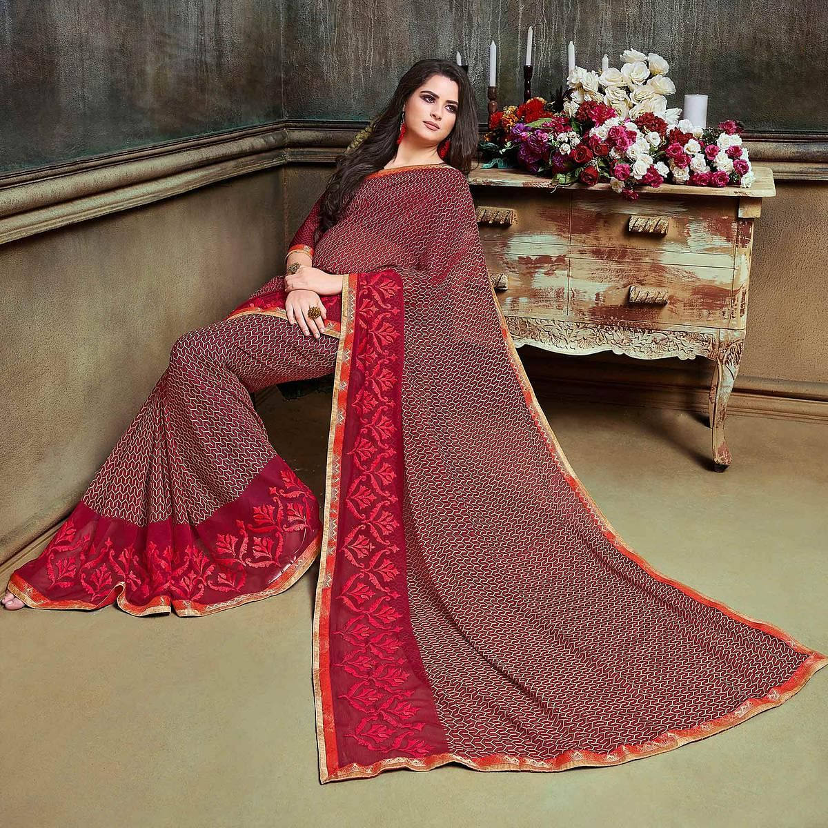 Charming Maroon Partywear Embroidered Georgette Saree