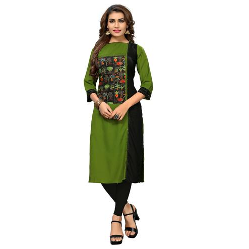 Vbuyz Women's - Green Colored Casual Printed Rayon Straight Kurti