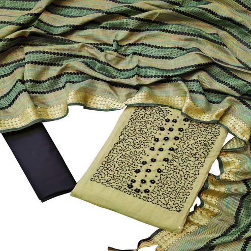Beautiful Green Colored Partywear Embroidered Chanderi Cotton Dress Material