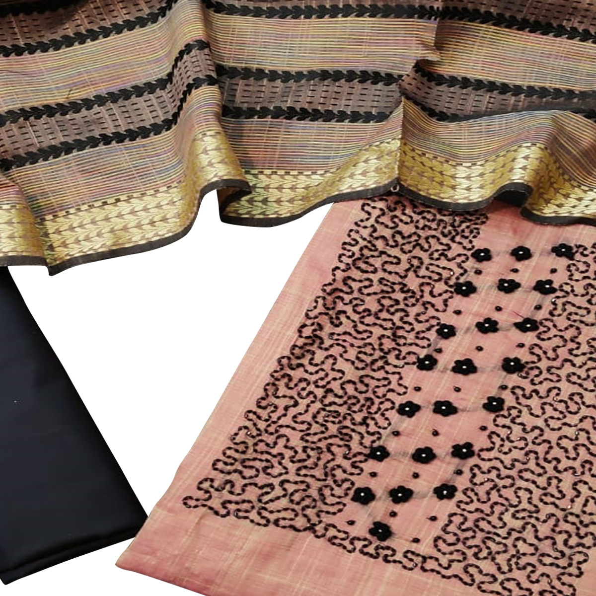 Adorable Pink Colored Partywear Embroidered Chanderi Cotton Dress Material