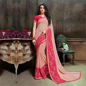 Classy Cream Partywear Embroidered Georgette Saree