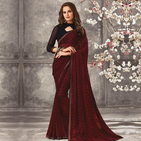 Intricate Maroon Colored Casual Wear Printed Georgette Saree